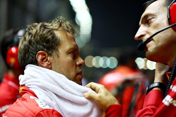 Vettel vann loksins kappakstur í dag.
