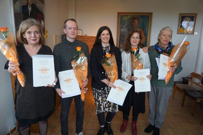 Elísabet Kristín Jökulsdóttir, Jónas Reynir Gunnarsson, Eydís Blöndal, Bergþóra Snæbjörnsdóttir og Kristín Ómarsdóttir.
