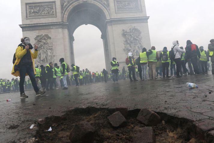 Frá mótmælunum í París.