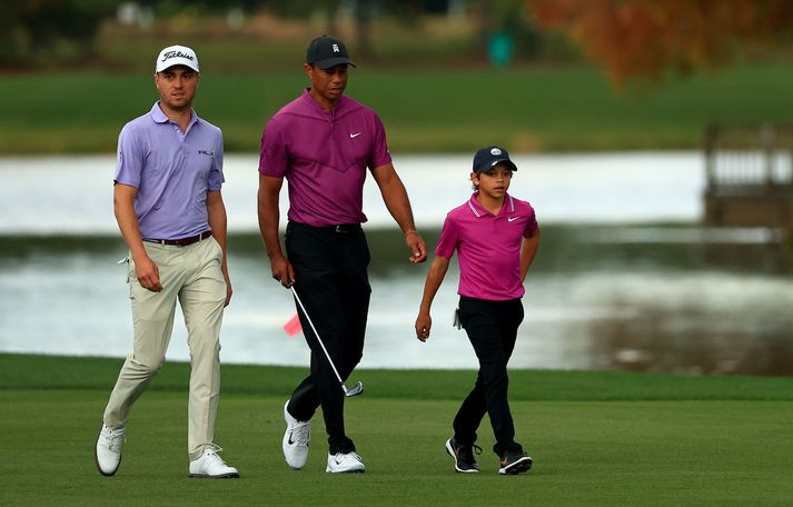 Justin Thomas og Tiger Woods eru nánir vinir. Hafa þeir verið í góðu sambandi undanfarna daga.
