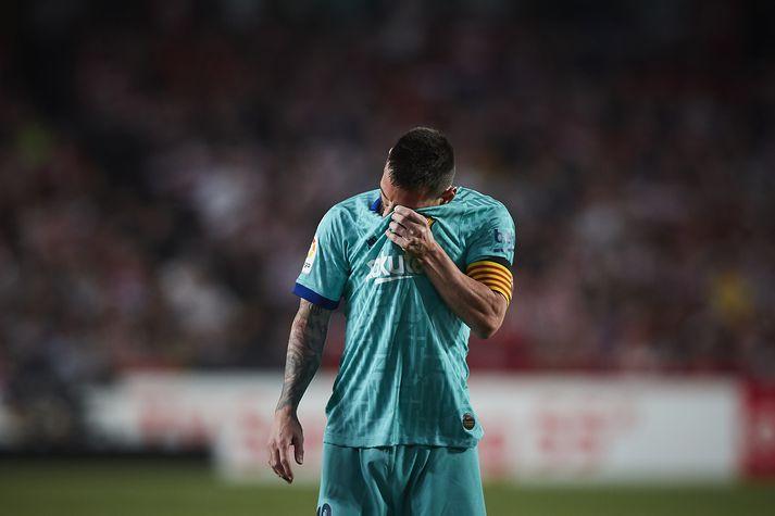 Lionel Messi svekktur í kvöld.