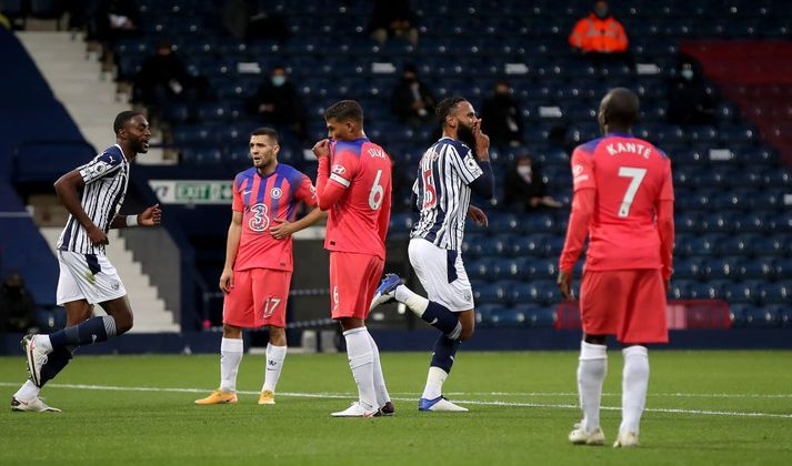 West Bromwich Albion v Chelsea - Premier League - The Hawthorns West Bromwich Albion's Kyle Bartley (2nd right) celebrates scoring his side's third goal of the game during the Premier League match at The Hawthorns, West Bromwich. (Photo by Nick Potts/PA Images via Getty Images)