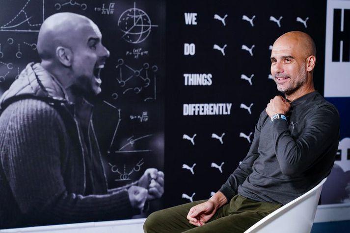 Pep Guardiola í viðtali hjá City TV eftir að hann skrifaði undir nýjan samning.