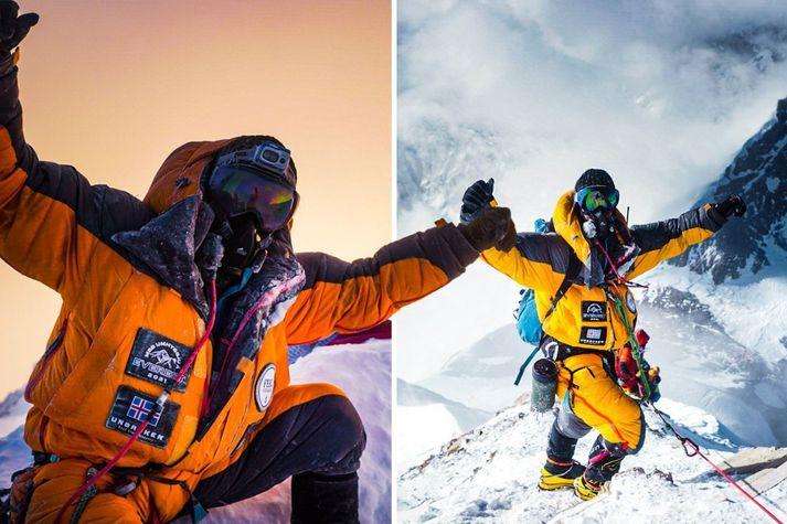 Þeir Heimir Fannar Hallgrímsson og Sigurður Bjarni Sveinsson náðu toppi Everest 24. maí síðastliðinn. Þá voru þeir þegar komnir með einkenni Covid-19, sem kom svo síðar í ljós.