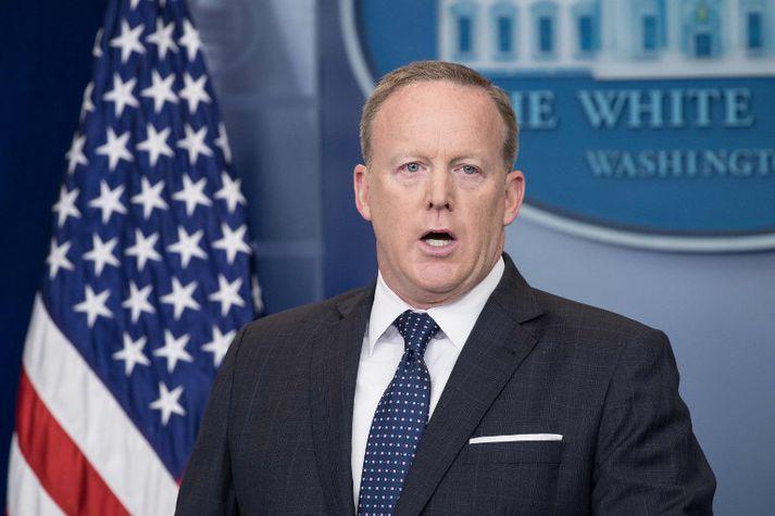 Sean Spicer á blaðamannafundi í Hvíta húsinu fyrr í þessum mánuði.