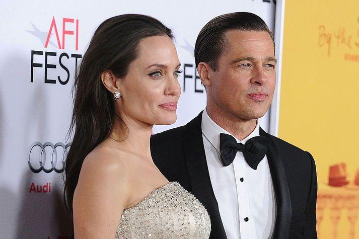 Angelina Jolie og Brad Pitt árið 2015, þegar allt lék í lyndi. Þau hættu saman árið 2016.
