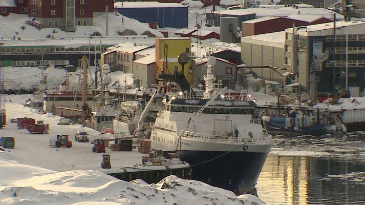 Frá höfninni í Nuuk á Grænlandi.
