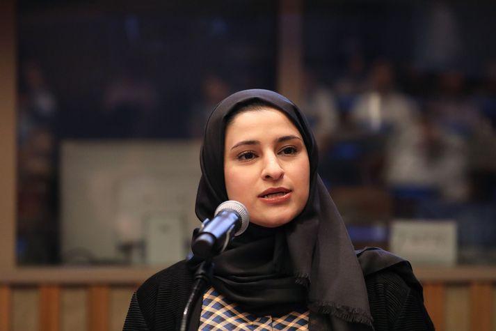 Sarah al Amiri fer fyrir marsáætlun geimferðastofnunar SAF.