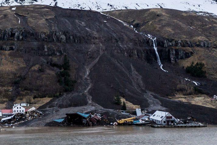 Aurskriðurnar sem féllu á Seyðisfirði ollu gríðarlegu tjóni.