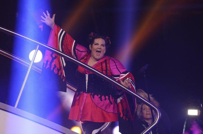 Söngkonan Netta var fulltrúi Ísraels í Eurovision í ár. Hún var að vonum afar sátt með sigurinn.
