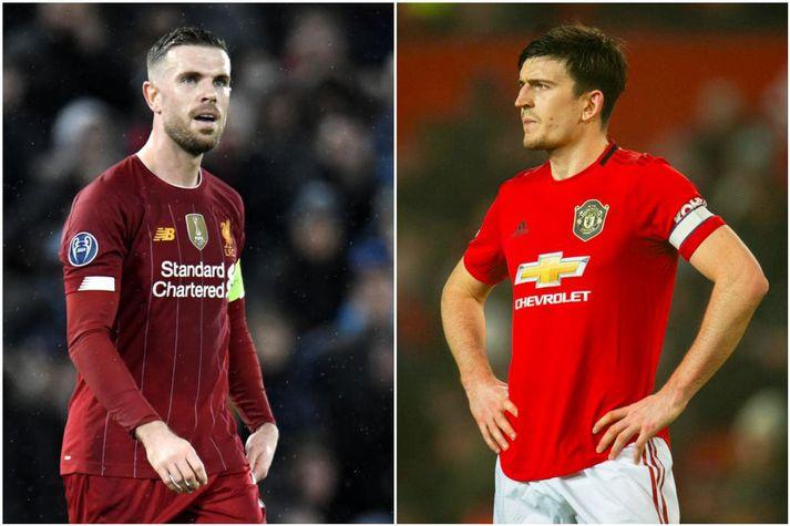 Jordan Henderson er fyrirliði toppliðsins Liverpool og Harry Maguire er fyrirliði Manchester United.