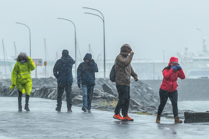 Vindhviður gætu orðið nokkrar við fjöll og háhýsi í dag.