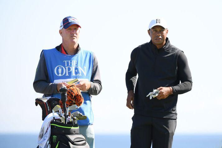 Tiger Woods er kominn til Norður-Írlands og byrjaður að æfa sig í brautinni