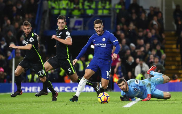 Eden Hazard var á skotskónum.