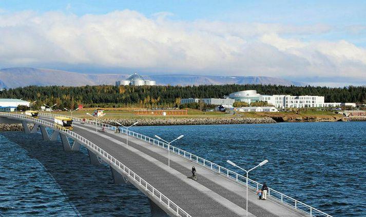 Brúin nær frá Kársnesi yfir á endann á flugbrautinni á Reykjavíkurflugvelli.