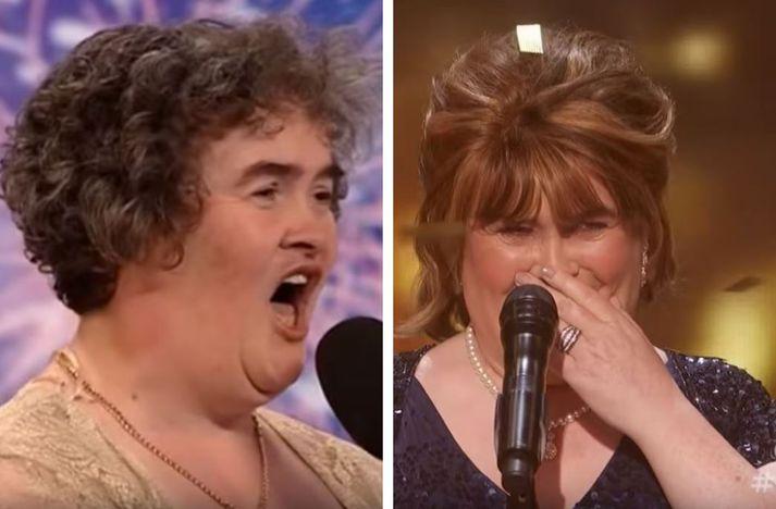 Susan Boyle árið 2009 og síðan árið 2019.