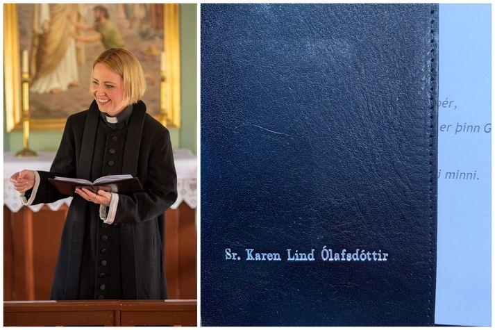 Séra Karen við athöfnina í Þingvallakirkju í gær. Til hægri má sjá möppuna góðu, sem sér lítið á en stybban leggur þó af henni.