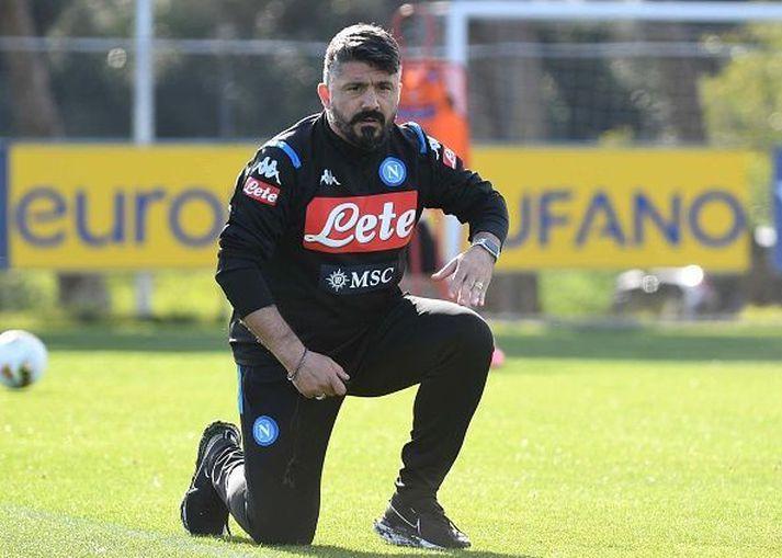 Gattuso á æfingu Napoli á dögunum.