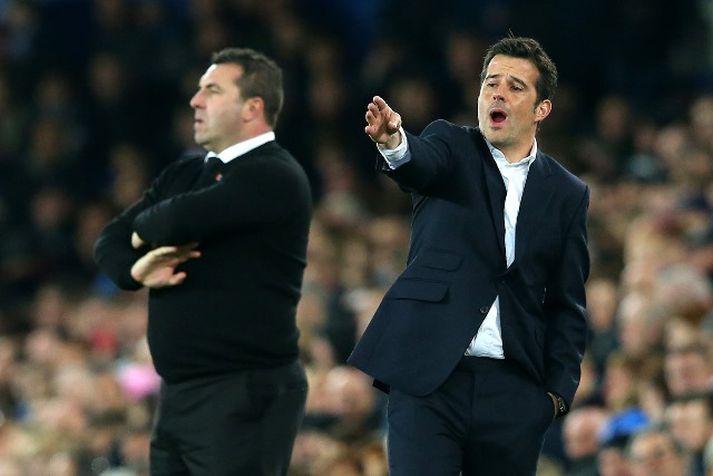 Marco Silva og David Unsworth á hliðarlínunni í leik Everton og Watford á dögunum.