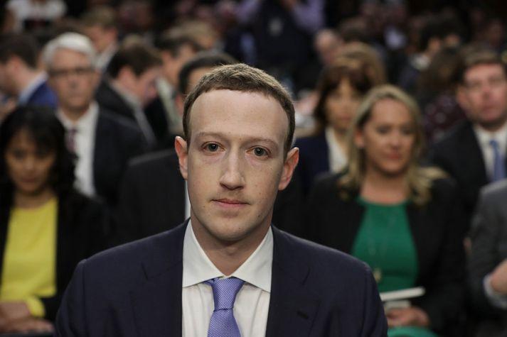 Mark Zuckerberg, forstjóri og stofnandi Facebook, þegar hann kom fyrir nefnd öldungadeildar Bandaríkjaþings í apríl.