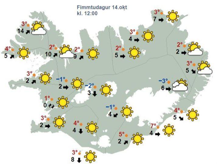 Veðrið klukkan 12 í dag.