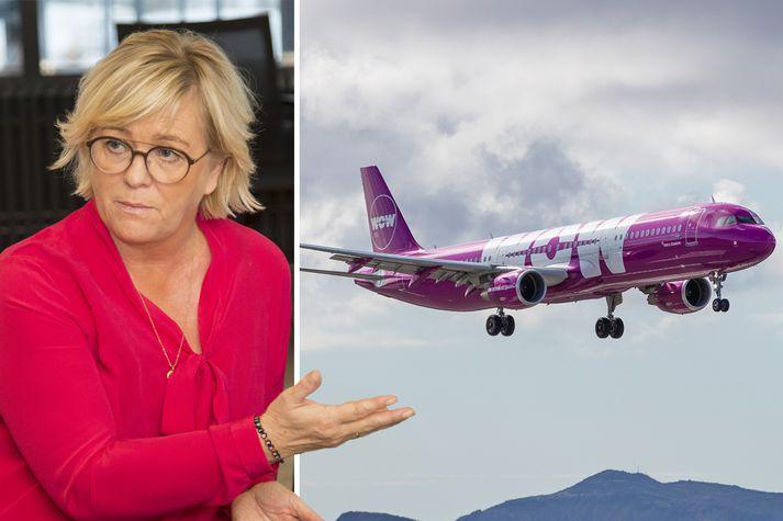 Birna Einarsdóttir bankastjóri Íslandsbanka fyrir að hafa átt í viðræðum við WOW Air.