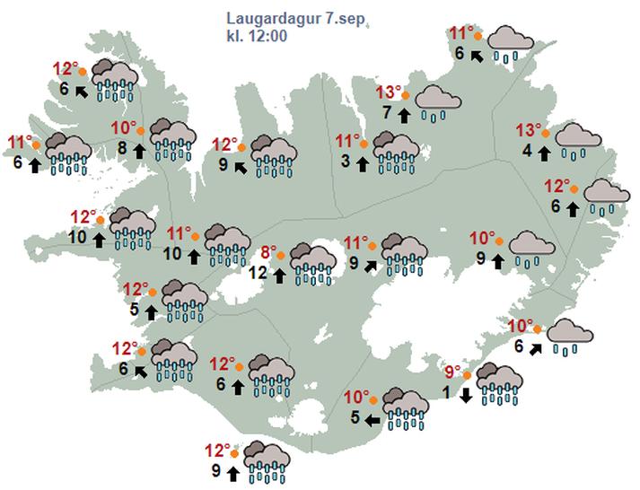 Líkur eru á talsverðri úrkomu á laugardag.