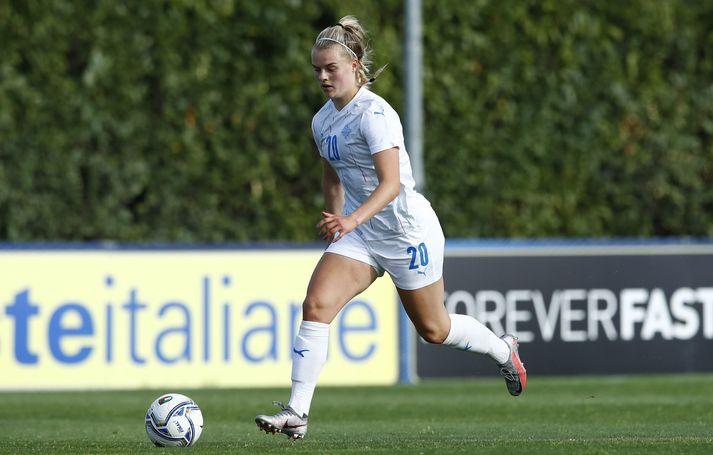 Guðný Árnadóttir spilaði allan leikinn gegn AC Milan í dag.