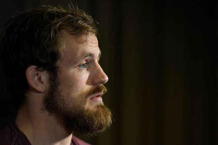 GLASGOW, SCOTLAND - JULY 13:  Gunnar Nelson of Iceland interacts with media during the UFC Ultimate Media Day at the Crowne Plaza Glasgow on July 13, 2017 in Glasgow, Scotland. (Photo by Josh Hedges/Zuffa LLC/Zuffa LLC via Getty Images)