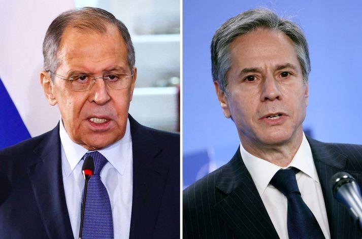 Sergei Lavrov og Antony Blinken, utanríkisráðherrar Rússlands og Bandaríkjanna.