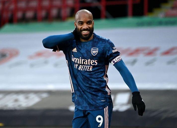 Alexandre Lacazette skoraði tvö mörk í sigri Arsenal í kvöld.
