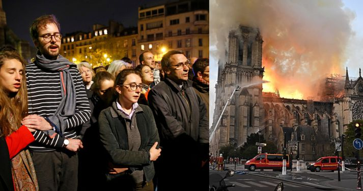Mannfjöldi hefur safnast saman og syngur sálma í nágrenni Notre Dame