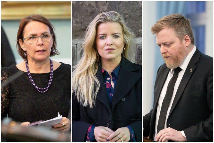 Bjarkey Olsen þingmaður Vinstri grænna, Áslaug Arna Sigurbjörnsdóttir dómsmálaráðherra og Sigmundur Davíð Gunnlaugsson, formaður Miðflokksins.