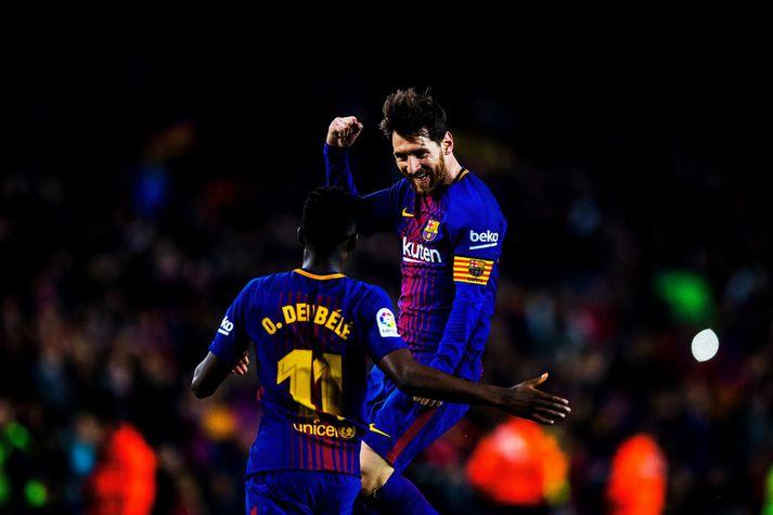 Lionel Messi fagnar marki með Barcelona um síðustu helgi.