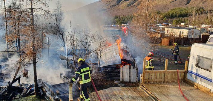 Frá vettvangi á hjólhýsasvæðinu í október í fyrra þegar eldur kom þar upp.