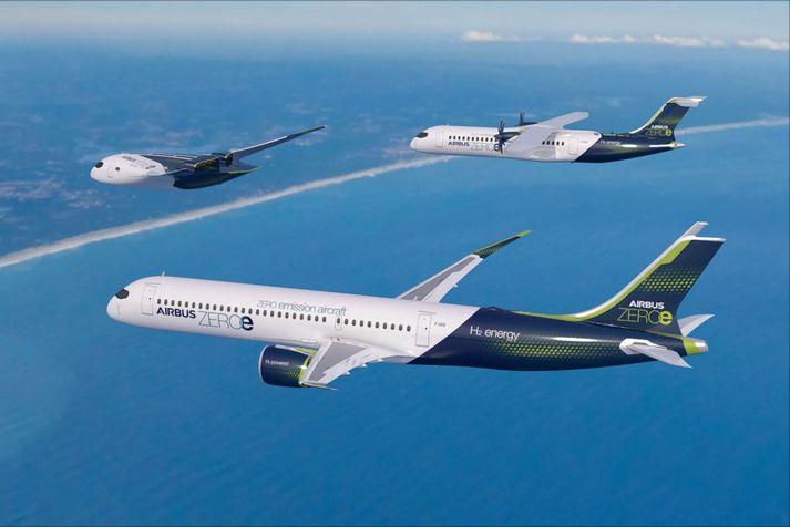 Airbus hyggst þróa þrjár mismunandi tegundir flugvéla, sem eiga að vera tilbúnar til mengunarlauss farþegaflugs árið 2035. Verkefnið kallast ZEROe eða Zero-emission-aircraft.