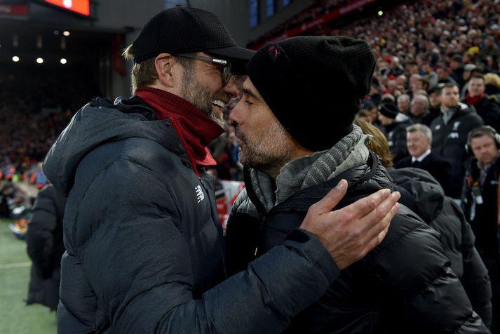 Það fer oftast vel á með þeim Jürgen Klopp og Pep Guardiola.