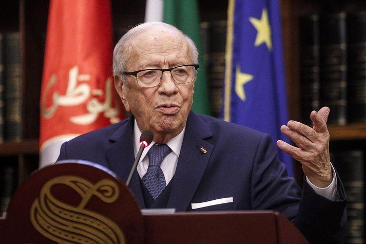 Beji Caid Essebsi var 92 ára gamall þegar hann lést.