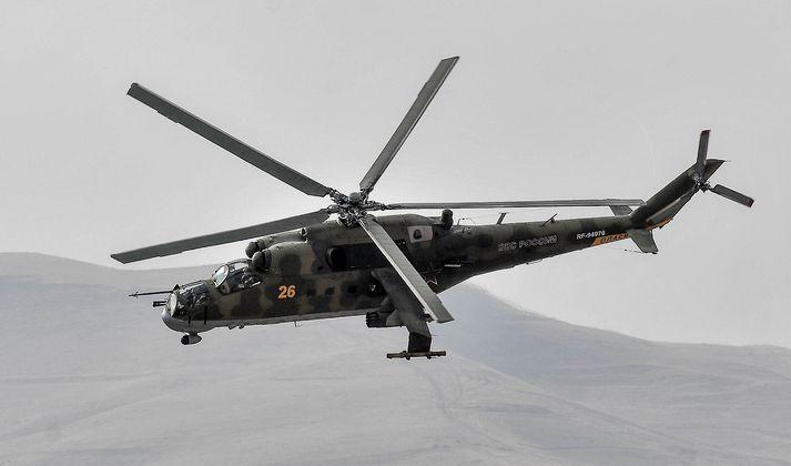 Þyrlan var af gerðinni Mi-24.