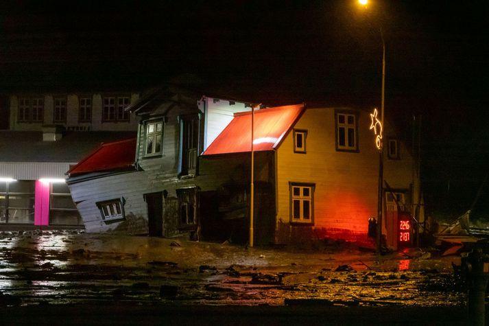 Húsið Breiðablik sem aurskriðan tók með sér í nótt.