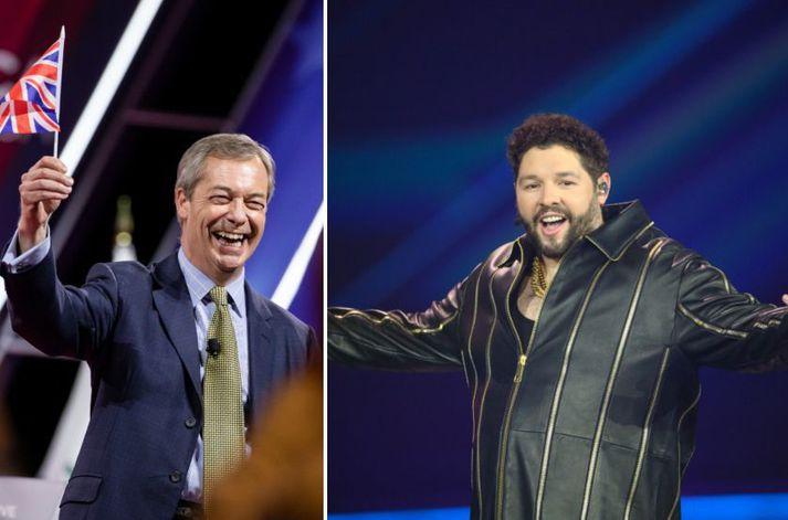 Farage (t.v.) vill að Bretland hætti að taka þátt í Eurovision. Newman (t.h.) fékk ekki eitt einasta stig á úrslitakvöldinu í gær.