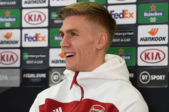 Rúnar Alex Rúnarsson sést hér á blaðamannafundi Arsenal í gær.
