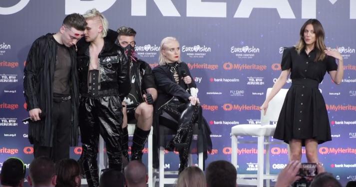 Liðsmenn Hatara sögðust vilja binda endi á hernám Ísraela á fyrsta blaðamannafundi sveitarinnar ytra í tengslum við þátttöku hennar í Eurovision.