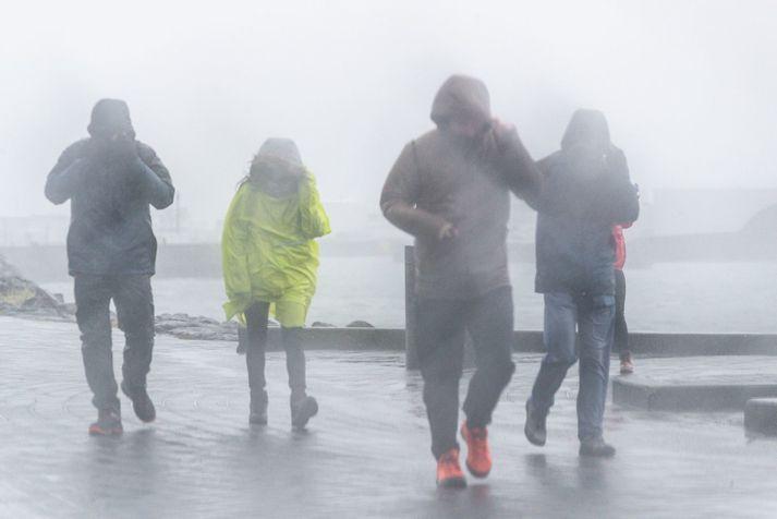 Búast má við slyddu og rigningu seinni partinn í dag.