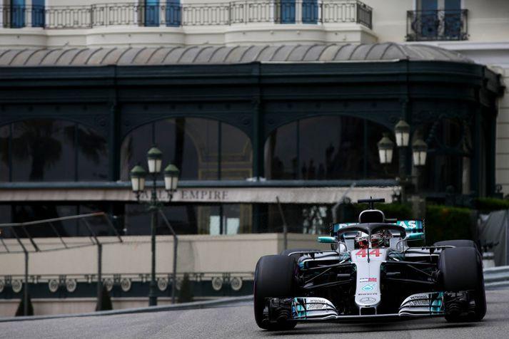 Hamilton á æfingu í Mónakó