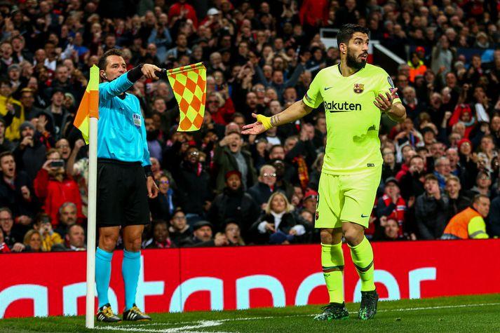 Luis Suarez í leiknum á Old Trafford á miðvikudagskvöldið.