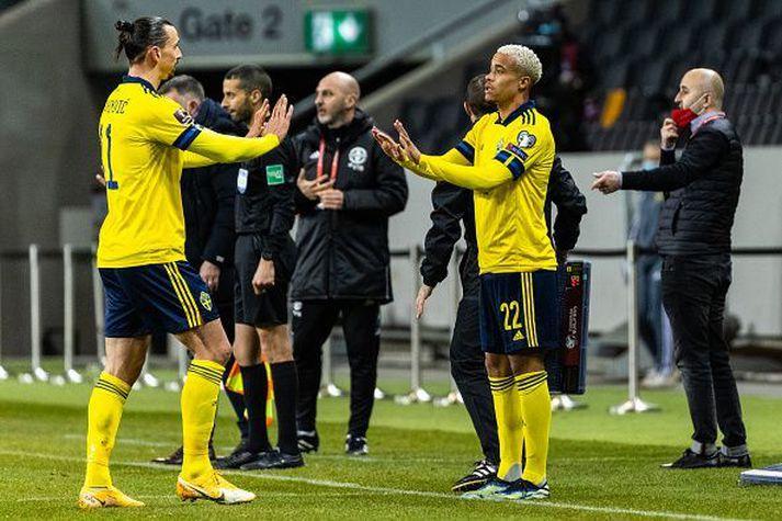 Zlatan Ibrahimovich í leiknum gegn Georgíu þar sem framherjinn lagði upp eitt af mörkum liðsins.