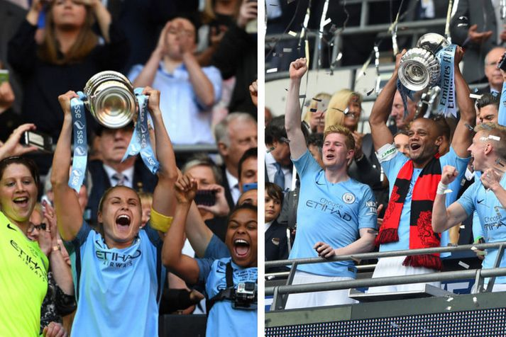 Fyrirliðiar Manchester City með bikarinn eða þau Vincent Kompany og  Steph Houghton.