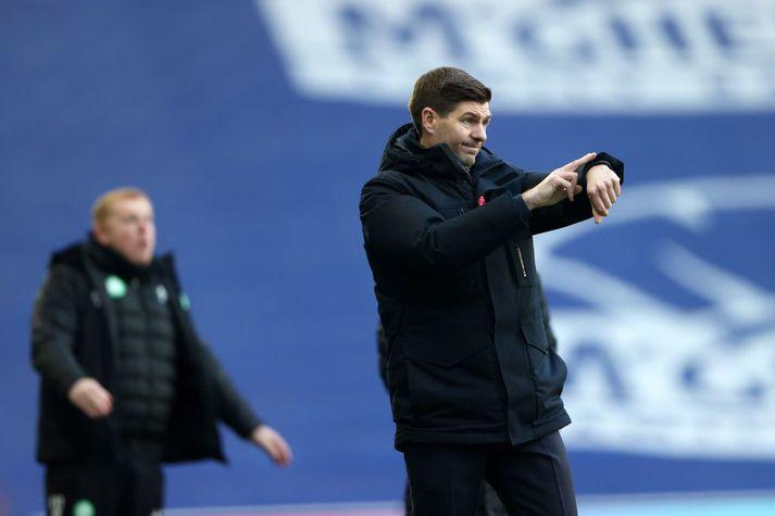 Gerrard á hliðarlínunni í dag.