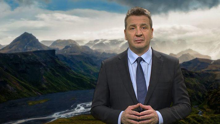 Guðlaugur Þór ávarpaði mannréttindaráðið með þessa stórfínu landslagsmynd í bakgrunni.